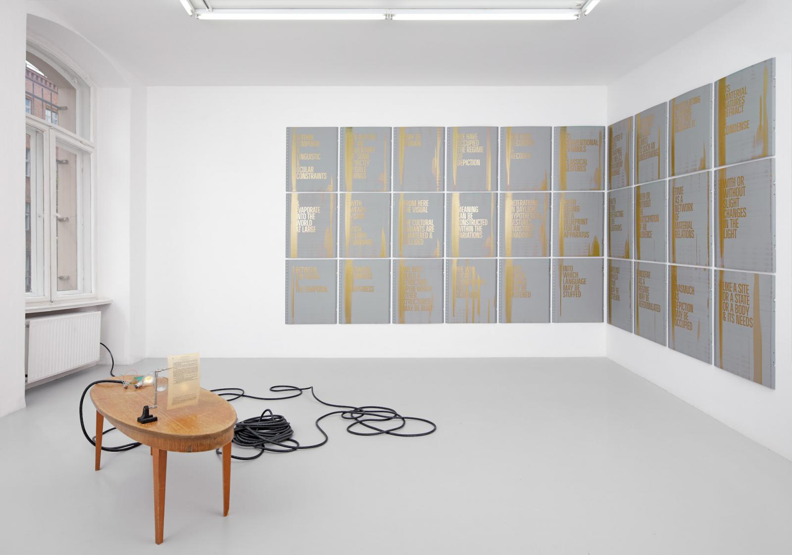 Pavel Büchler /Life & Opinions /(2004)  Studio for Propositional Cinema /ALTERATIONS IN DAYLIGHT:/ /HYPOTHETICAL GESTURES: INDISTINCT SHADOWS/ installation view at Tanya Leighton in cooperation with Galerie Max Mayer