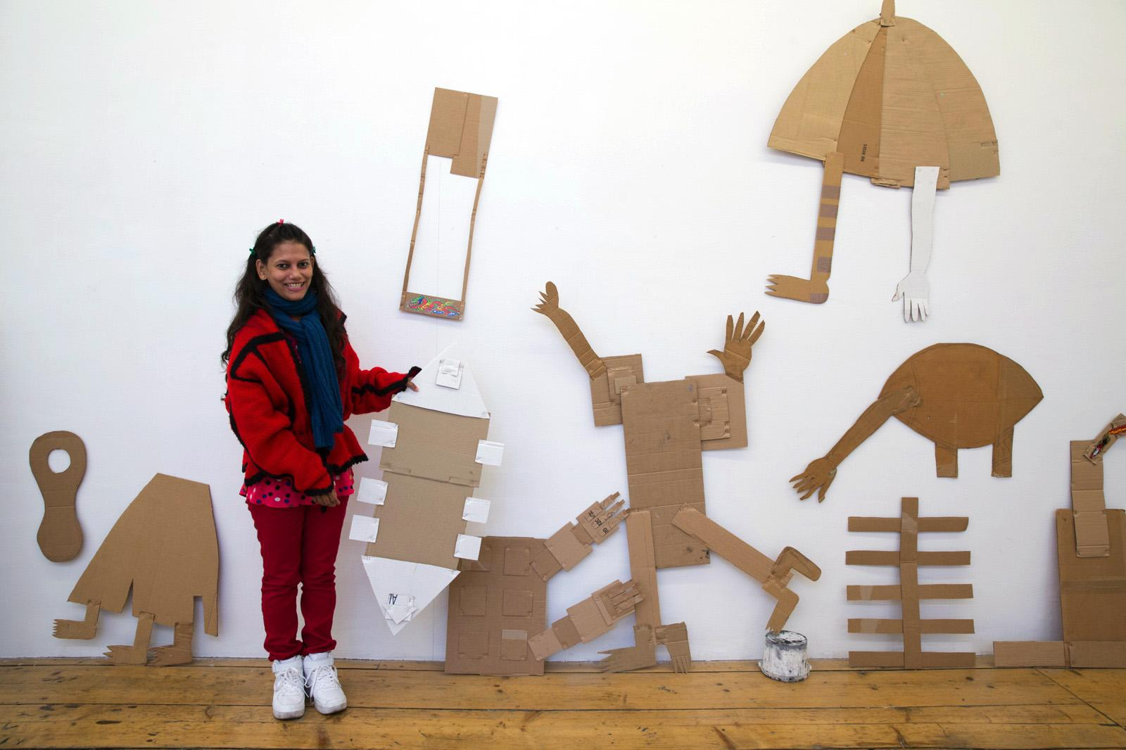 Rini Mitra in front of her artworks Krinzinger Projekte curated by Diana Campbell Betancourt Photo: eSeL