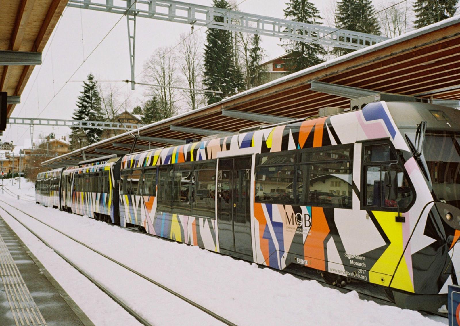 Sarah Morris /Monarch/, 2017 The train runs daily between Montreux and Zweisimmen.
