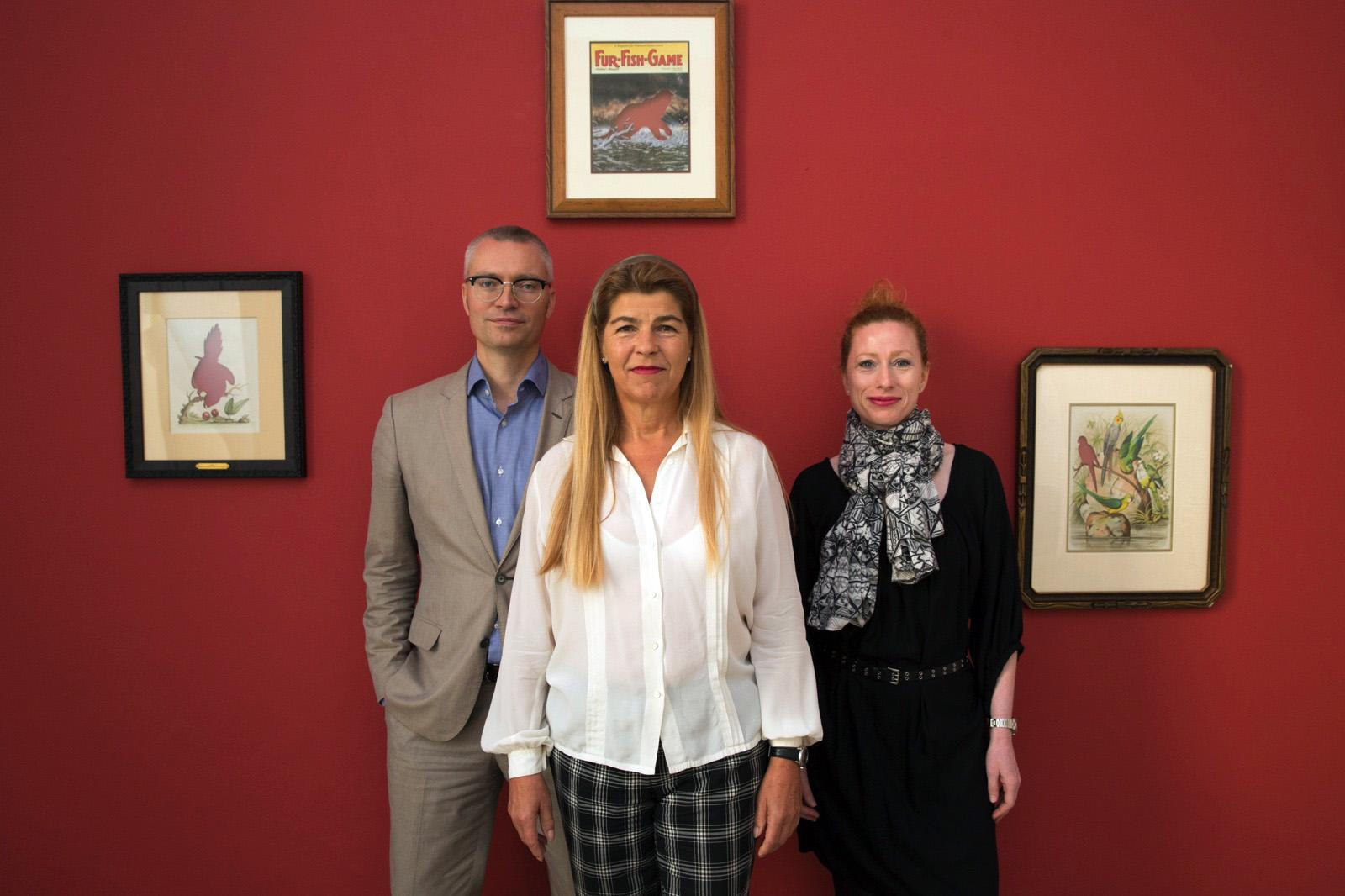 Dealer Elisabeth Thoman (middle) with curators Dieter Buchhart & Anna Karina  Hofbauer Photo: eSeL
