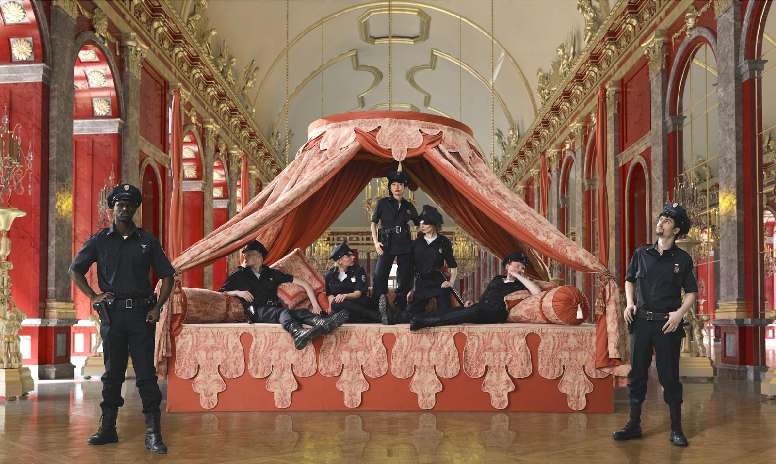 """AES+F /Inverso Mundus/(still) Courtesy Knoll Galerie Wien  """"Während Herr Schulze liest, fährt der Balkanzug über die Brücke bei  Nisch, ein Schwein jammert im Keller des Schlächters Nuttke."""" curated by  Adrian Christopher Notz,Knoll Galerie Wien"""