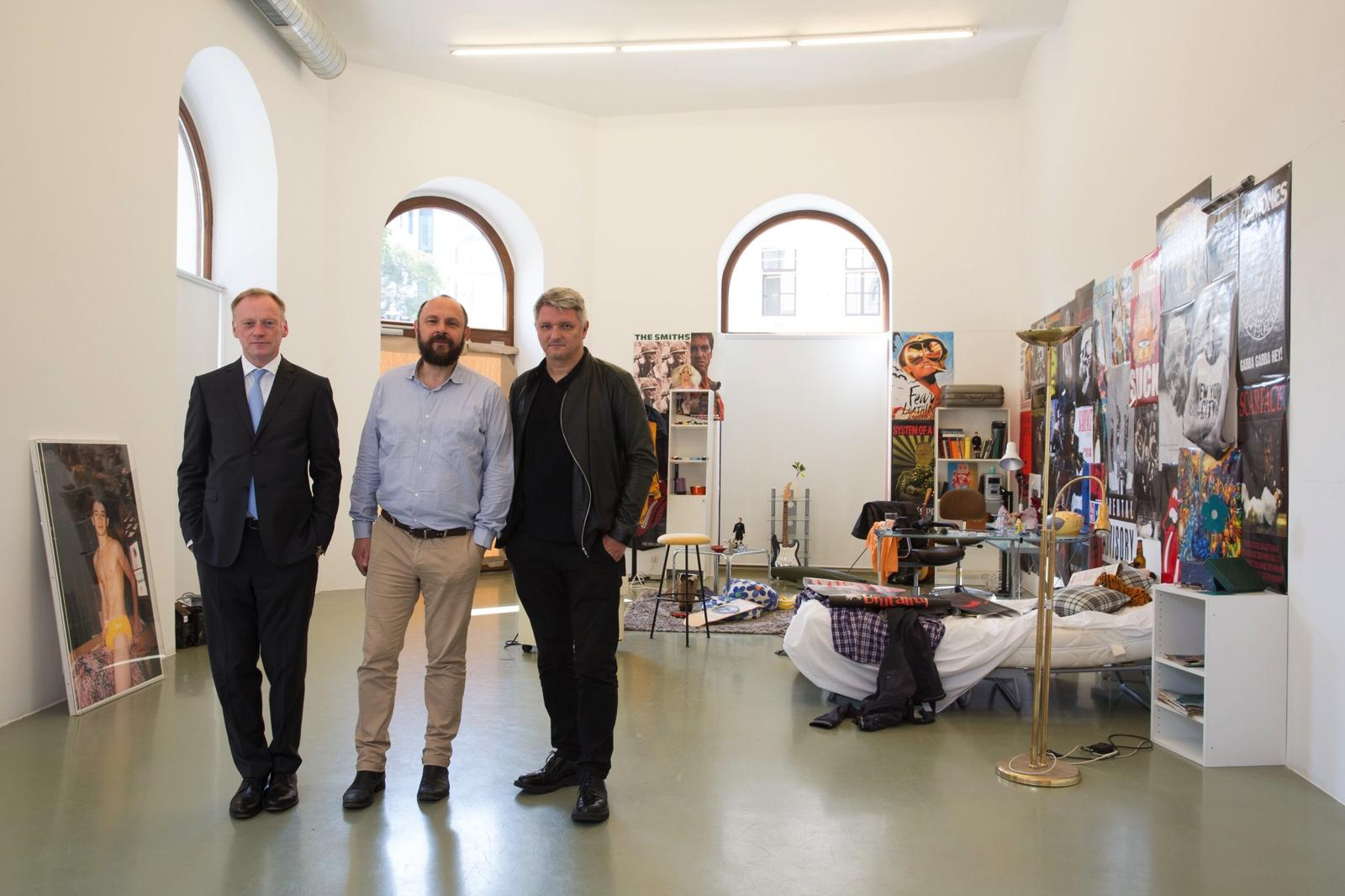 Galerie Crone's Andreas Osarek and Markus Peichl with curator Dirk  Schönberger Photo: eSeL