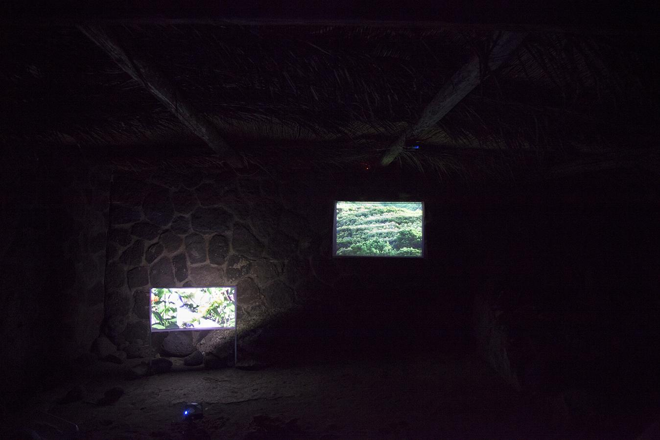 Martin Murphy /Arrivo di Aimée/, 2016 Two-channel video projection with sound, ft. Aimée Carmoz, 9:25 min Photo: Giovanna Silva Courtesy Fiorucci Art Trust, London