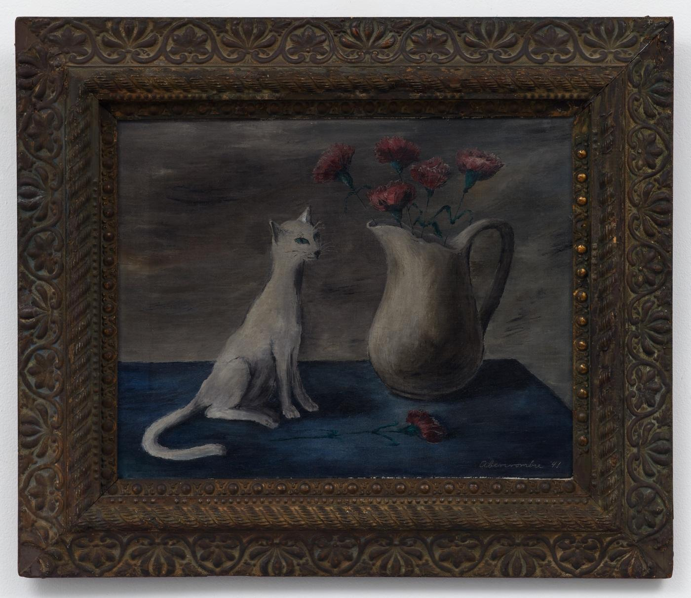 Gertrude Abercrombie,/White Cat and Red Carnations/, 1941, oil on canvas,  40.6 cm × 50.8 cm, 61.6 × 71.75 cm (framed)