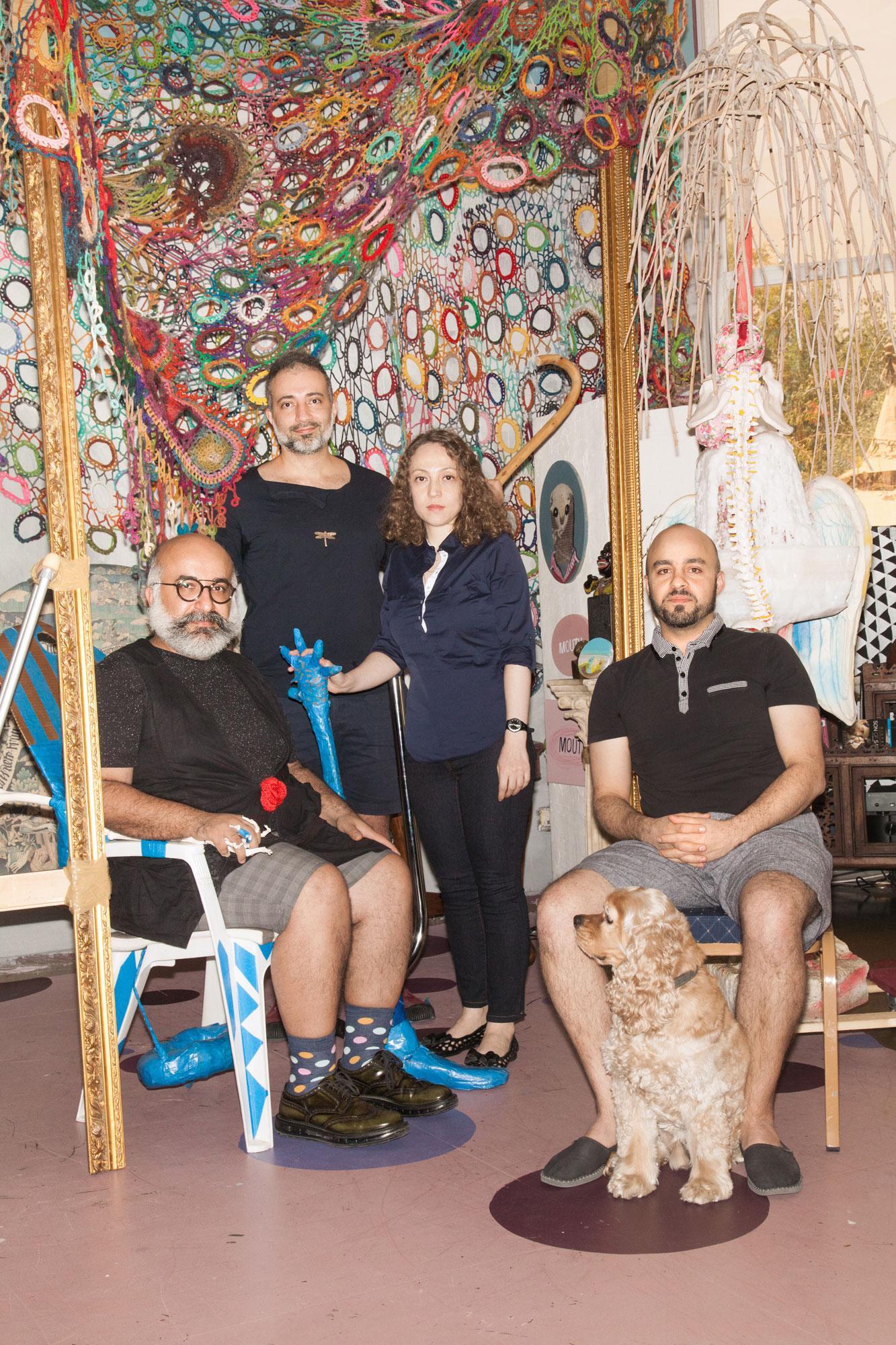 Artists Ramin Haerizadeh, Rokni Haerizadeh, Hesam Rahmanian & Nargess Hashemi  (from left)