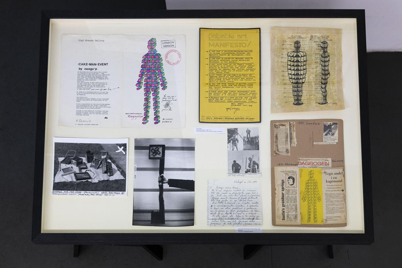Vitrine withoriginal documents and letters of Paul Neagu