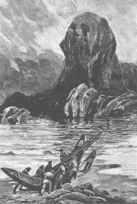 Illustration by Georges Roux for Jules Vernes' novel Le Sphinx des glaces (1897)
