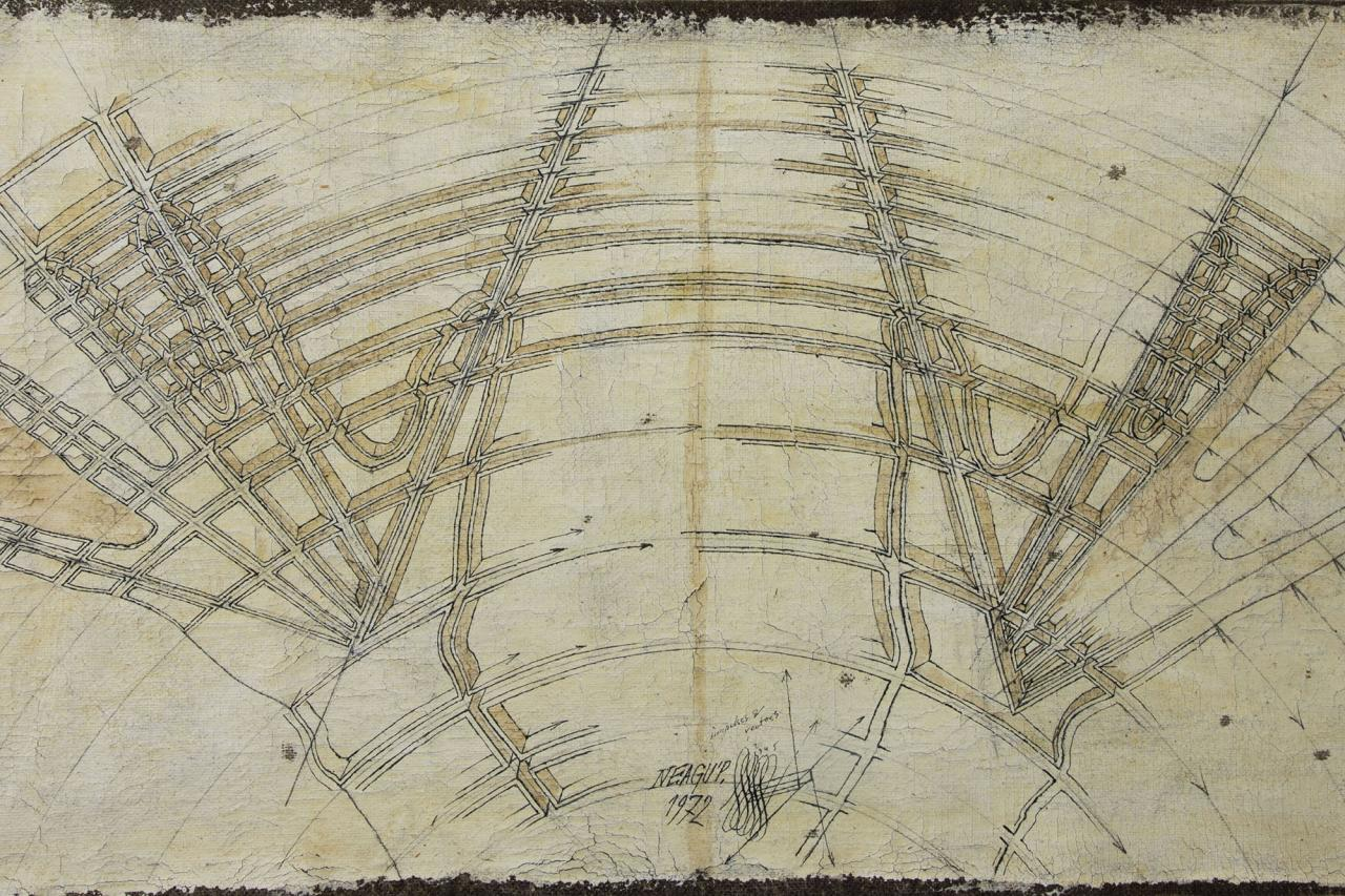Paul Neagu, Double Hand. Impulses and Vectors, 1972, Oil and ink on Canvas