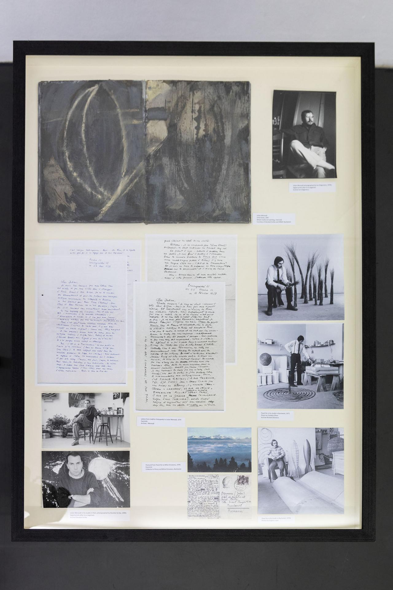 Vitrine with Julian Mereuță, Artist book , 1987, Mixed media (oil painting, charcoal); letters of Jindřich Chalupecký, Julian Mereuță, Pavel Ilie, Mihai Oroveanu; and photographs by Decebal Scriba, Ion Grigorescu, Cordelia Oliver and Eugeniu Lupu