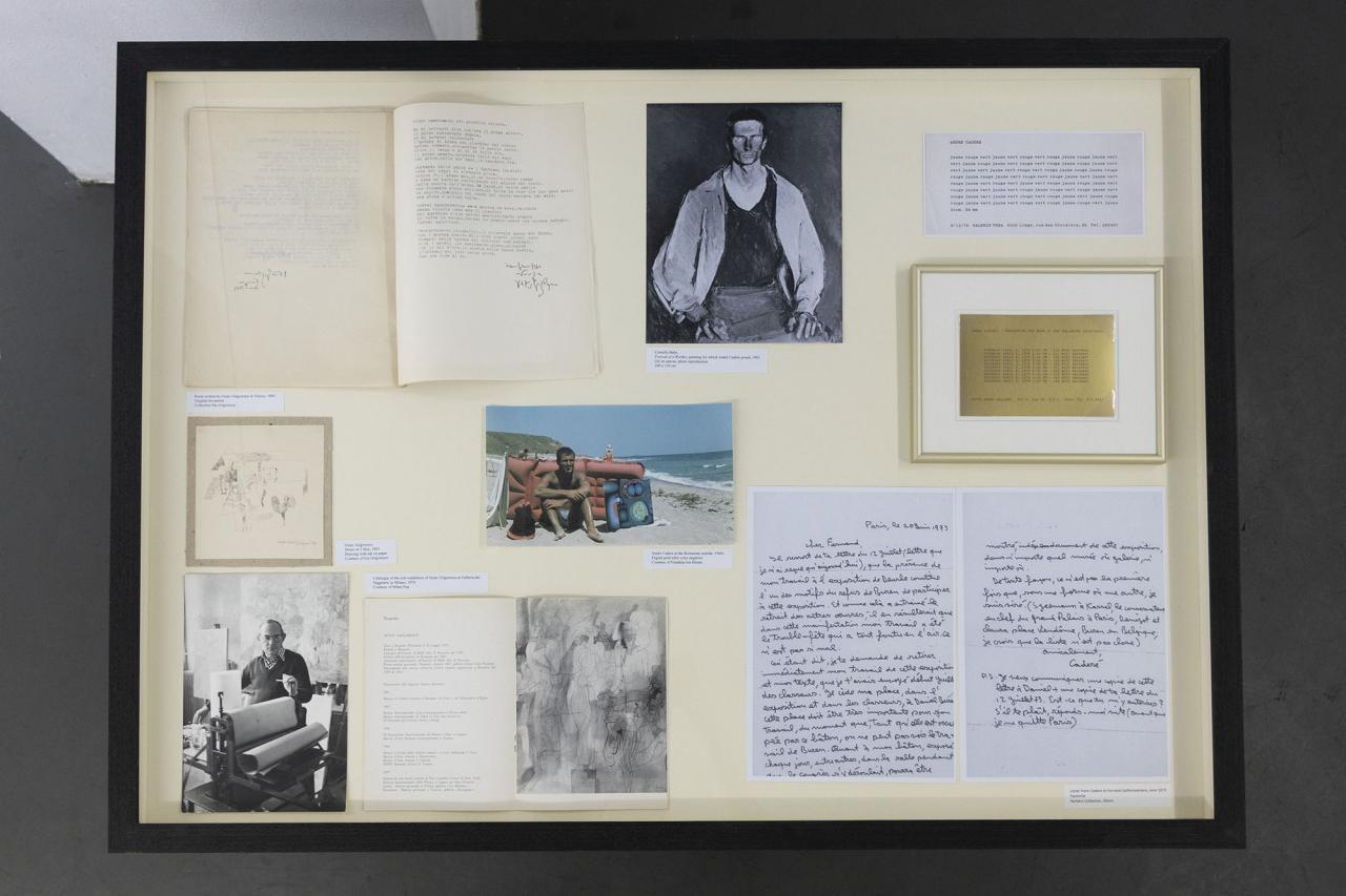 Vitrine with documents of Octav Grigorescu, Ilie Grigorescu, André Cadere, Fernand Spillemaeckers;a photograph of André Cadere;and Corneliu Baba, Portrait of a Worker , a painting for which André Cadere posed, 1961, Oil on Canvas, photo reproduction, 100 x 130 cm