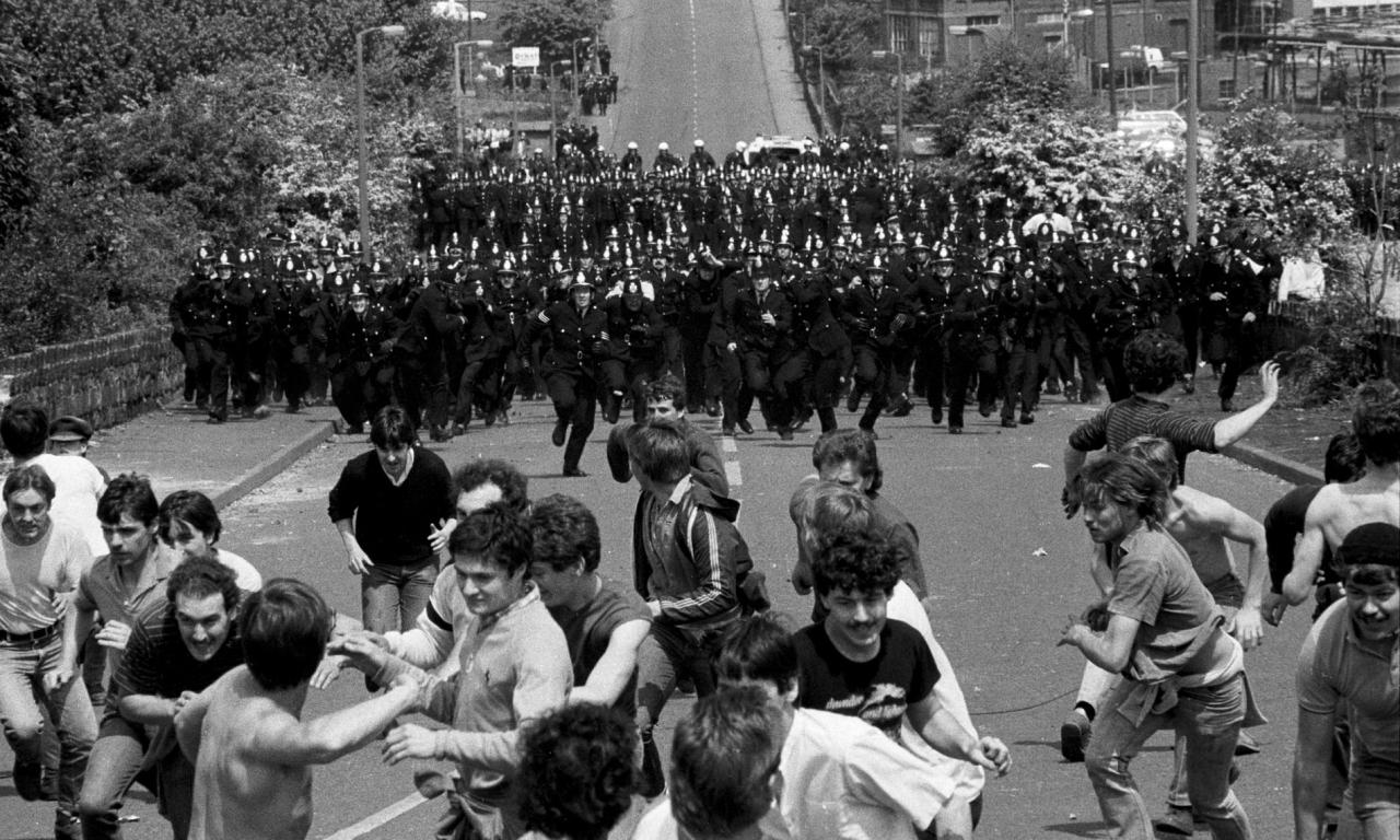 Image of the Battle of Orgreave, a violent confrontation between police and pickets during the 1984-85 UK miner's strike in Oregreave, Yorkshire, UK