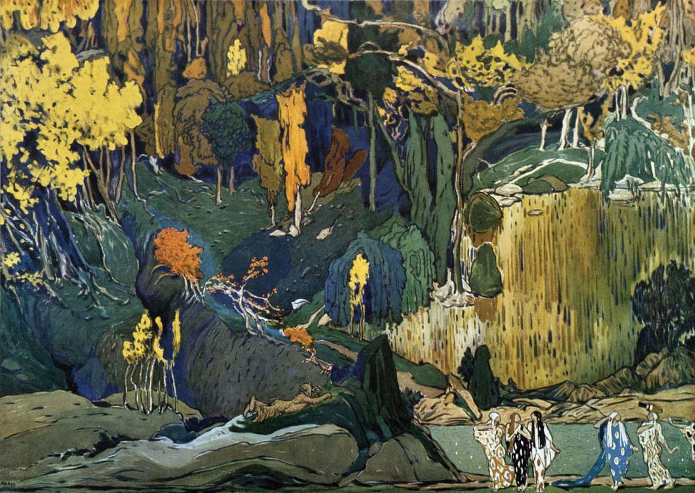 L'après-midi d'un faune (The Afternoon of a Faun), ballet set design, Lev Samoilovich Bakst (Leon Bakst),1912, 105×75 cm, gouache and pencil on paper