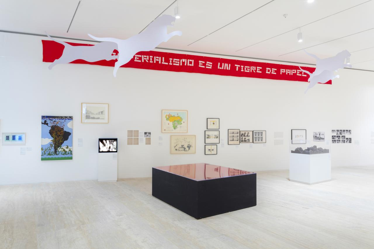 "Installation view of ""Memories of Underdevelopment: Art and the Decolonial Turn in Latin America, 1960-1985"" at Museo Jumex, 2018 Photo: Abigail Enzaldo and Emilio García"