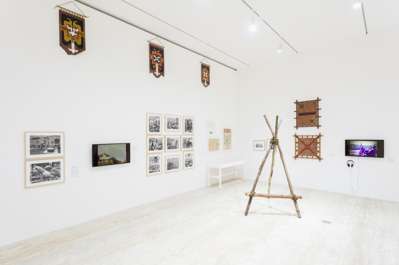 """Installation view of """"Memories of Underdevelopment: Art and the Decolonial Turn in Latin America,1960-1985"""" atMuseo Jumex, 2018 Photo: Abigail Enzaldo and Emilio García"""