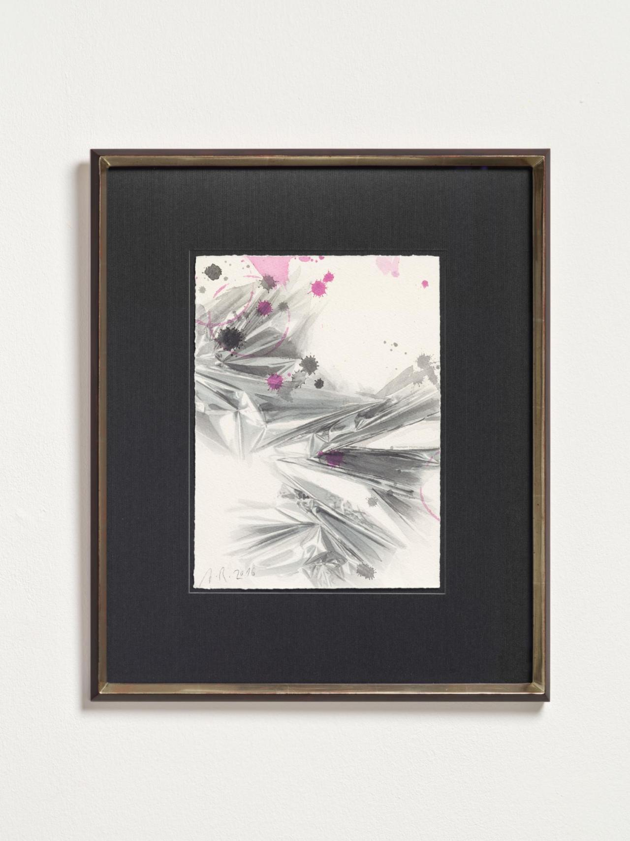 Anselm Reyle Untitled, 2016 watercolor, ink on paper, wooden frame with white gold 28.5 x 21 cm;48.6 x 41.2 x 3 cm
