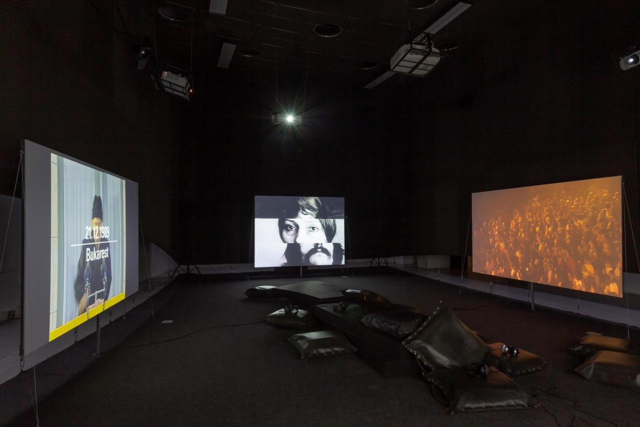 Harun Farocki & Andrei Ujică, Videograms of a Revolution (1992), Dóra Maurer, Triolets (1981), Roman Himey & Yarema Malashchuk Dedicated To The Youth Of The World II, (2019). Photo:Ugnius Gelguda