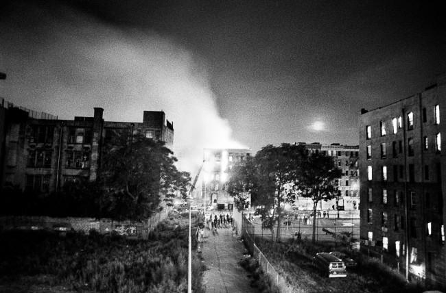"Ken Schles Burning Building with Moonrise, East 4th Street  (1984) from the series ""Invisible City"""