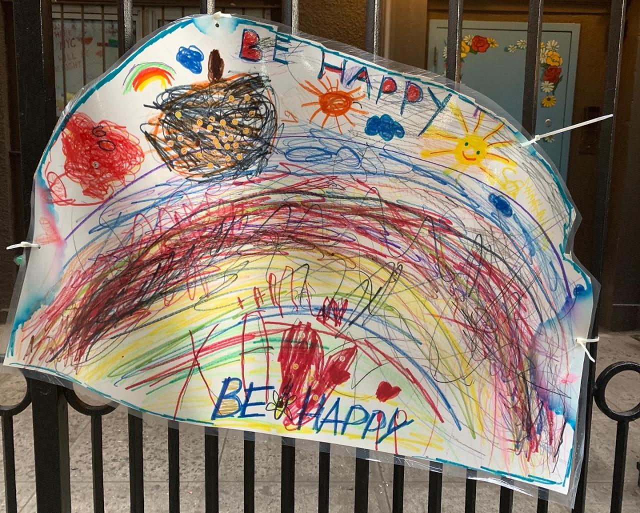 Drawing by children of the Beginnings Nursery School by Stuyvesant Square Park