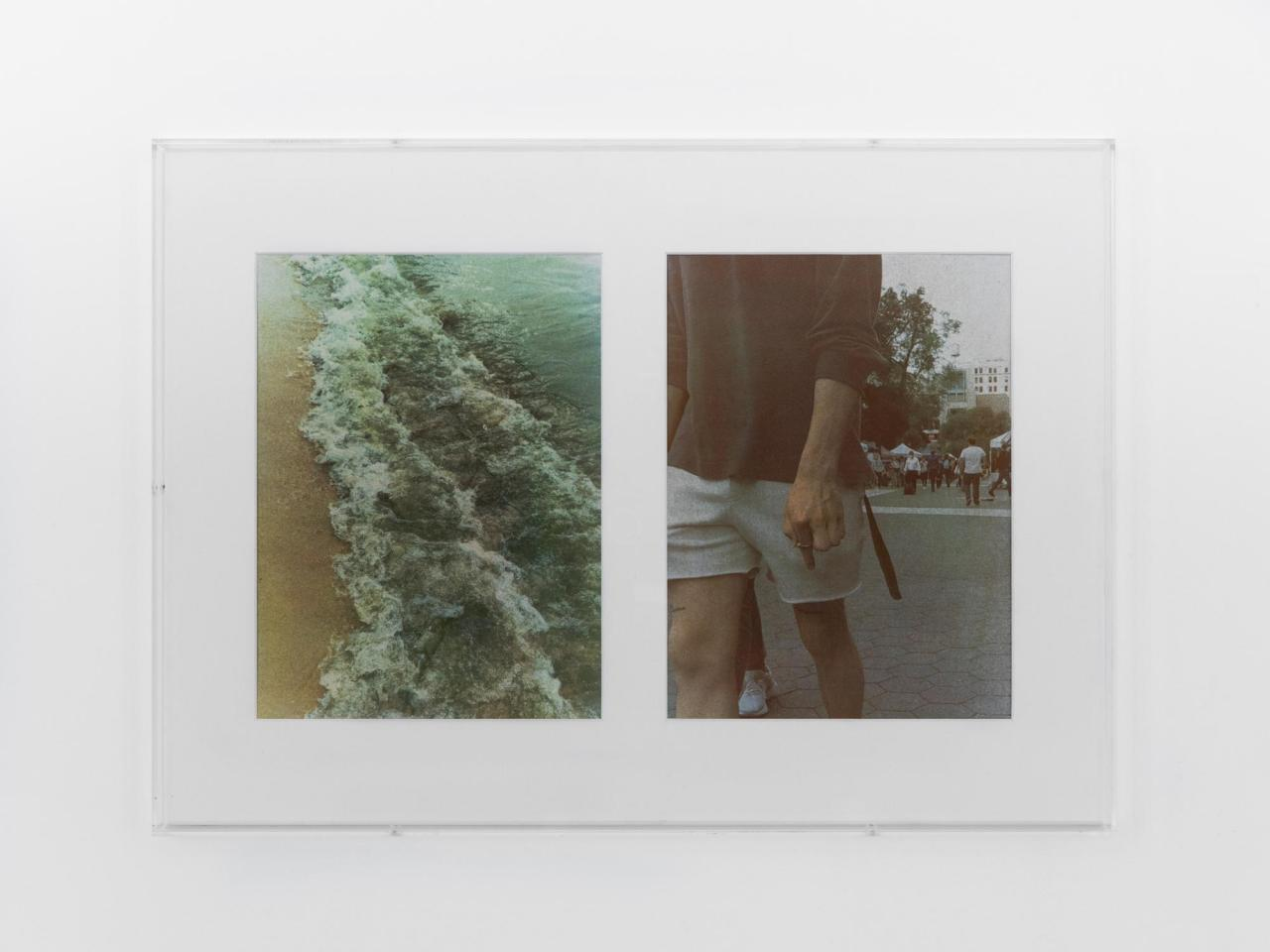 Christopher Aque, Flow , 2021. UV-C exposed gum bichromate prints on paper in acrylic and linen passe-partout frame. (51 × 71 × 3.6 cm). Courtesy: the artist and Sweetwater, Berlin. Photo: Diana Pfammatter