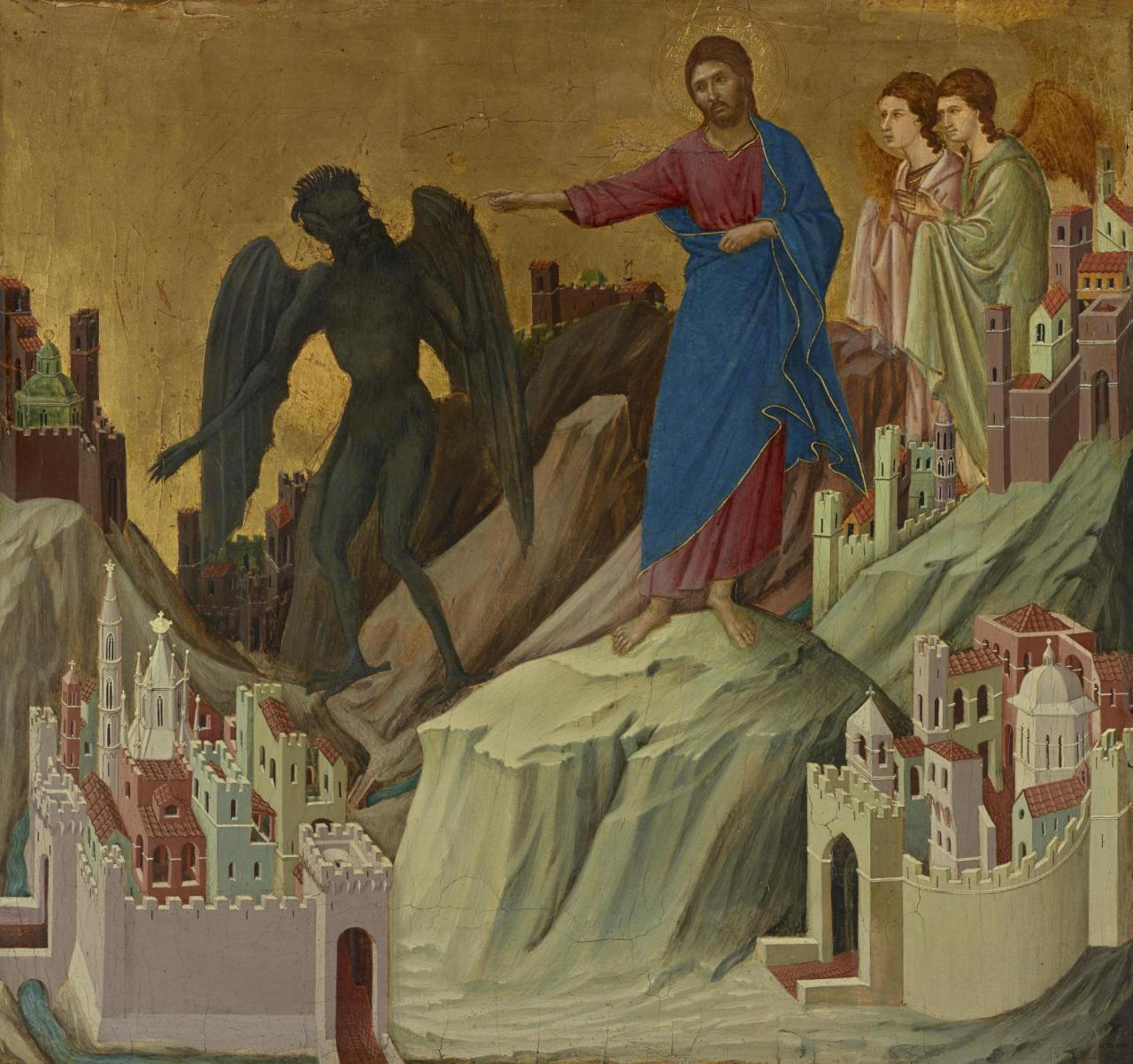 Ducciodi Buoninsegna, The Temptation of Christon the Mountain , 1308–11