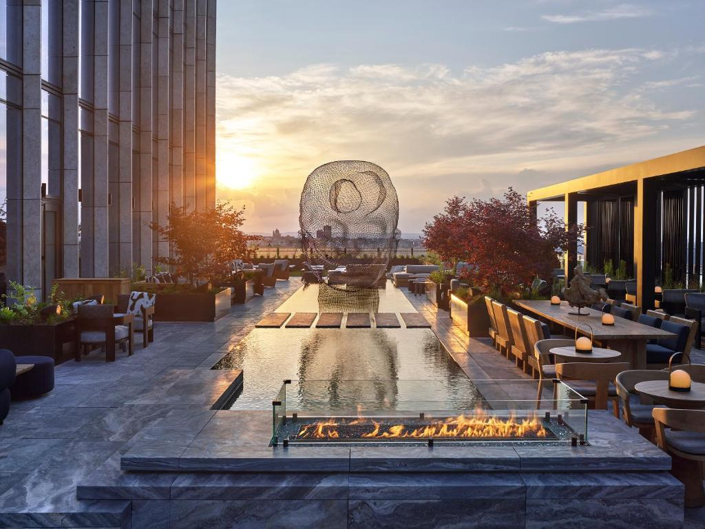 Jaume Plensa sculpture on the terrace of Equinox Hotel;Photo by Collin Hughes