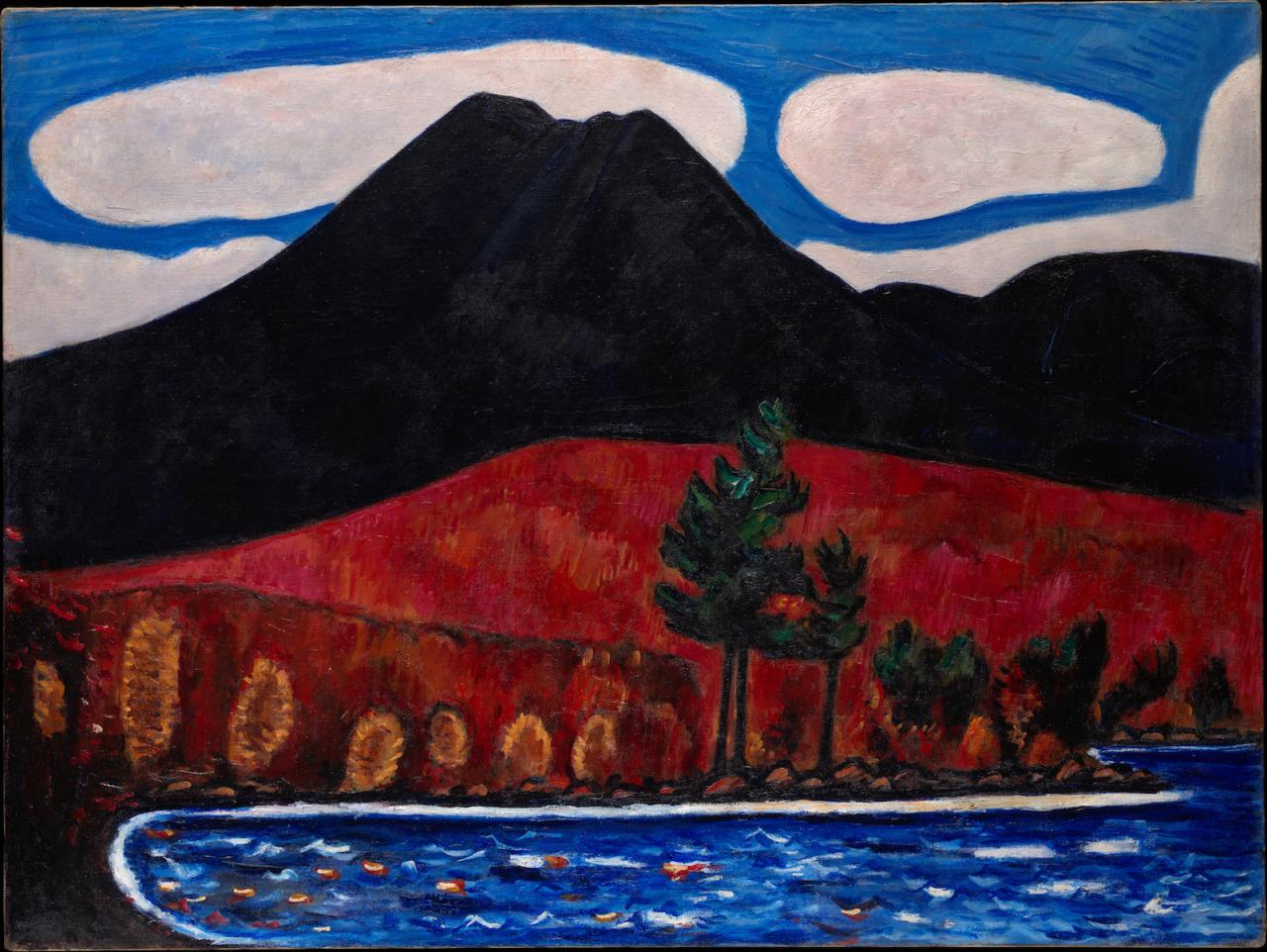 Marsden Hartley Mt. Katahdin (Maine), Autumn #2  (1939–40) Oil on canvas, 76.8 x 102.2 cm. The Metropolitan Museum of Art, Edith and Milton Lowenthal Collection, Bequest of Edith Abrahamson Lowenthal