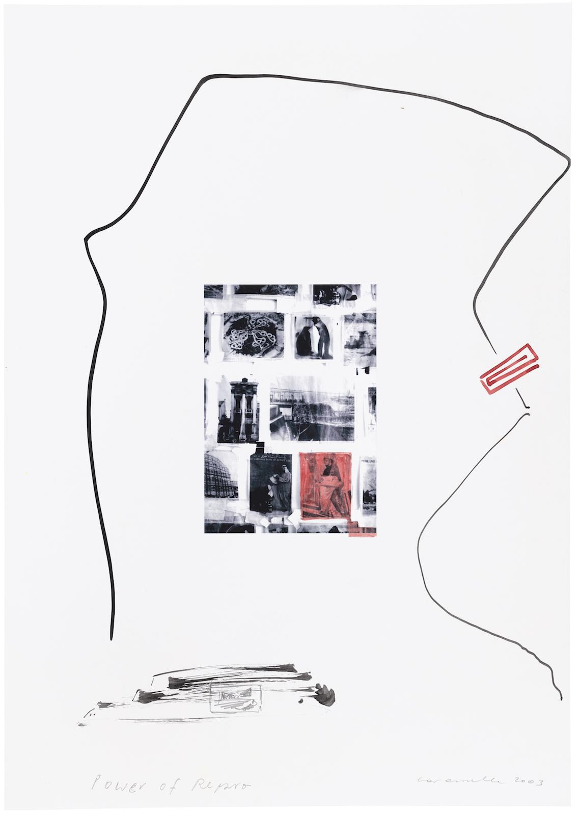 Ernst Caramelle Power of Repro (2003) watercolor on digital print 41,8 x 29,5 cm