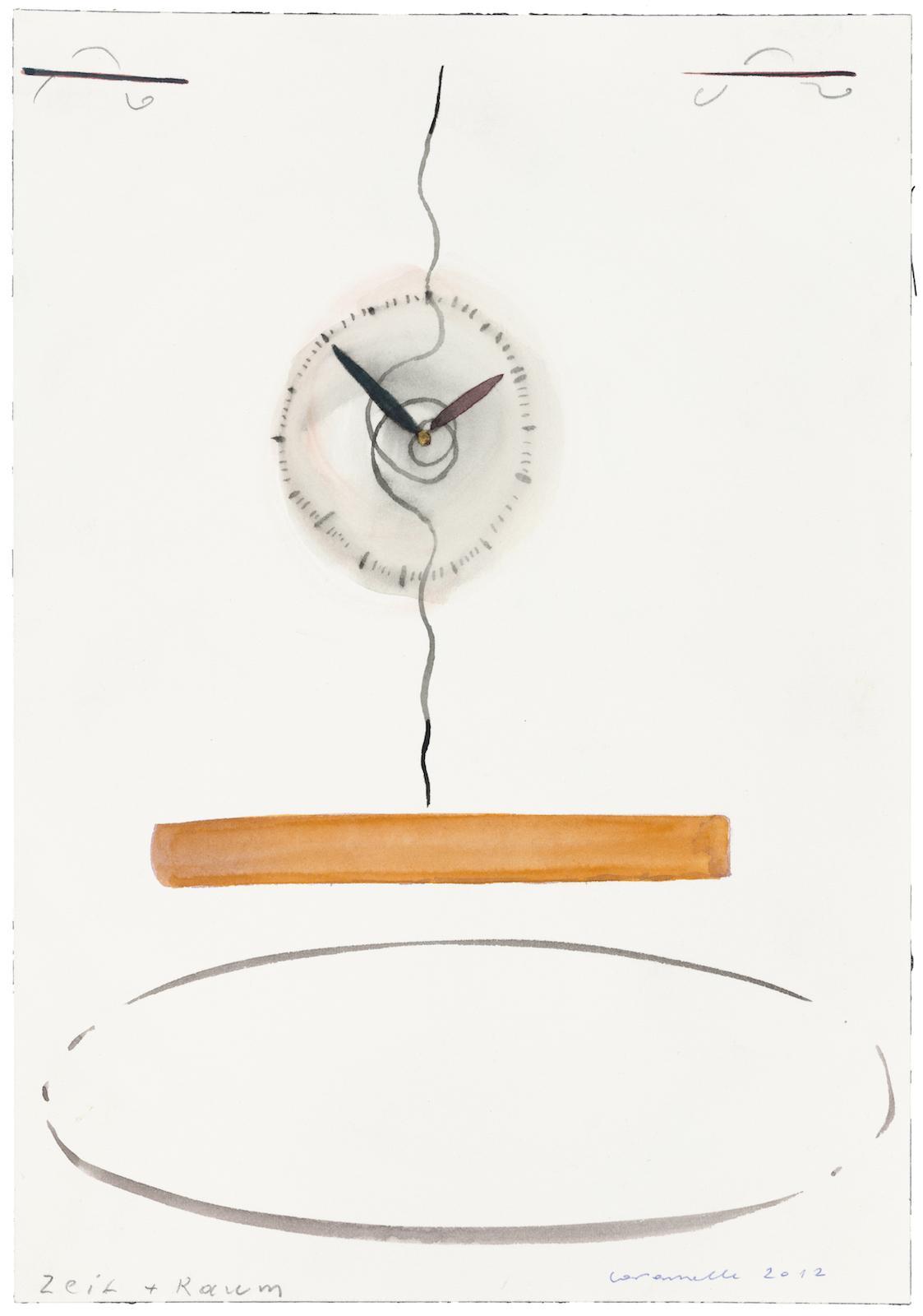Ernst Caramelle Zeit + Raum (2012) watercolor on paper 26 x 18 cm Photo: Markus Wörgötter;Courtesy Galerie nächst St.Stephan Rosemarie Schwarzwälder