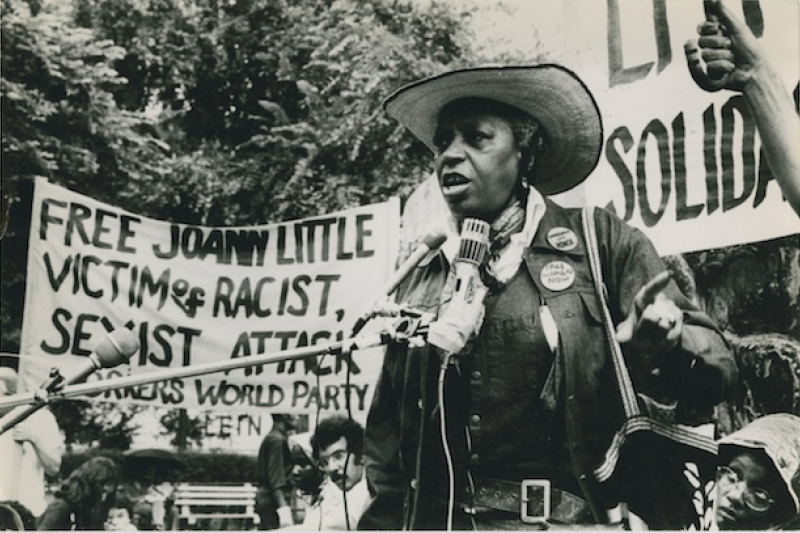 "Florynce ""Flo"" Kennedy speaks at a protest, July 12, 1975."