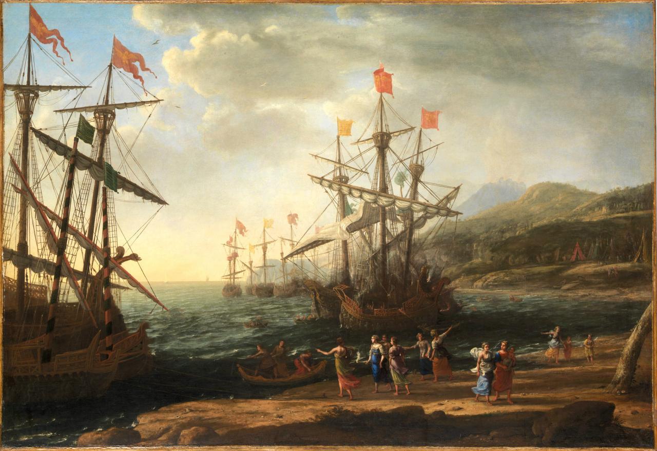 Claude Gellée The Trojan Women Setting Fire to their Fleet (1643) Knausgård mentions the painting in Book 6