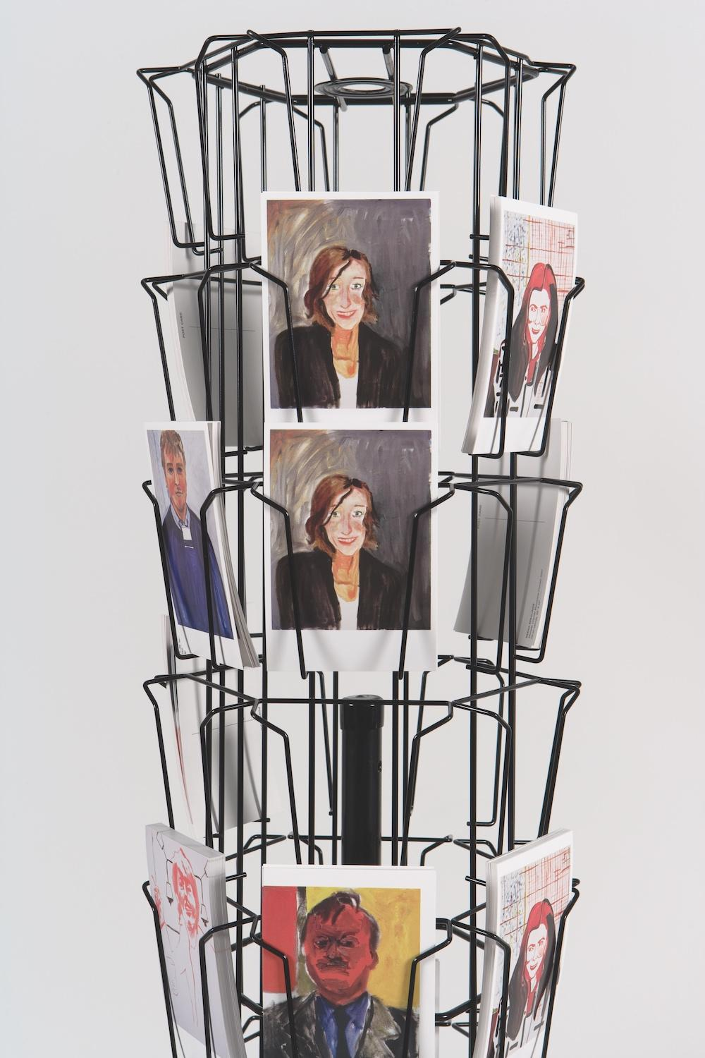Reena Spaulings, The Dealers , 2007 Postcards, postcard rack Courtesy of Campoli Presti