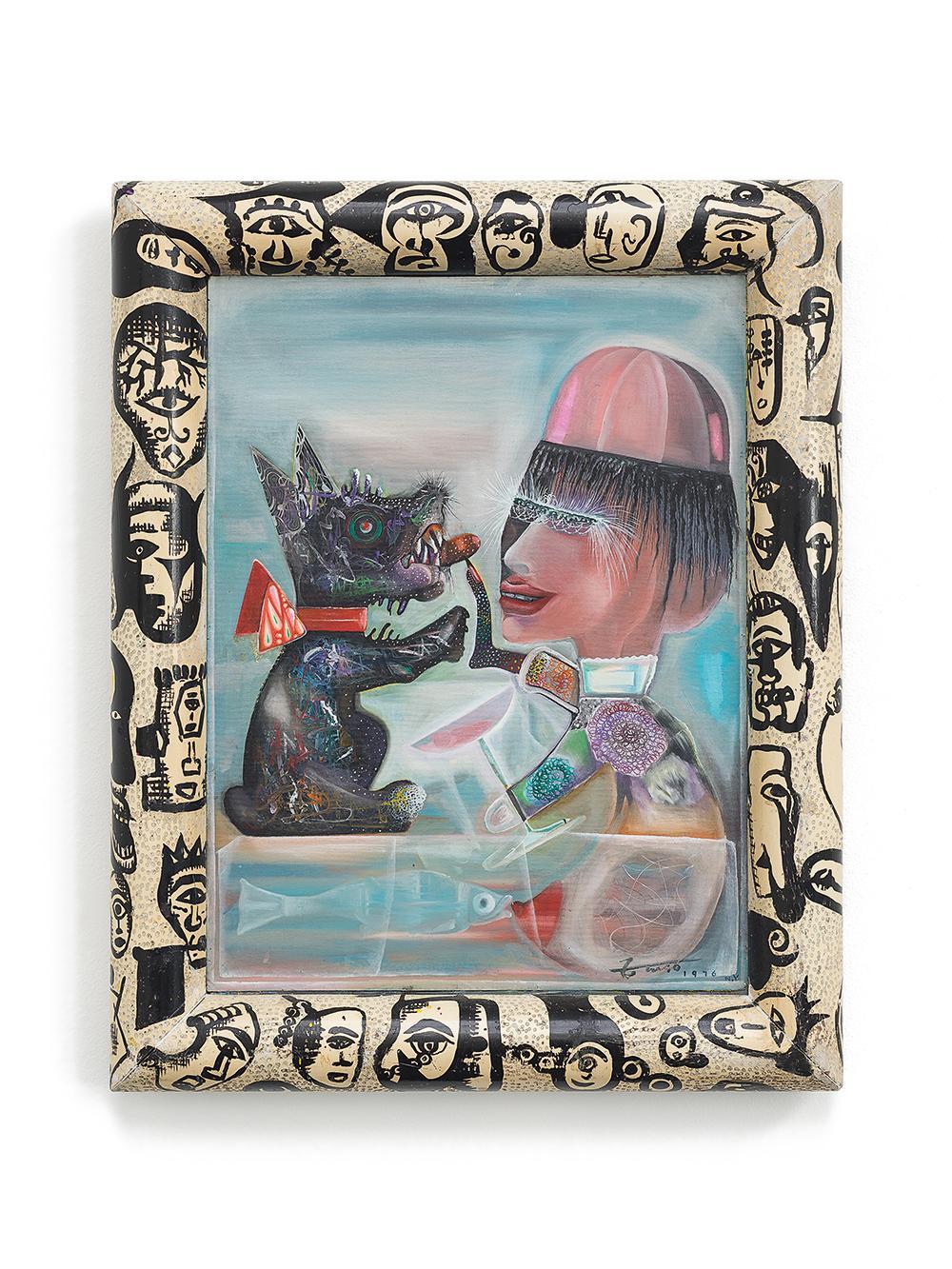 Finger Dog , 1976 Oil on frame, canvas mounted on board, 77 x 62 cm