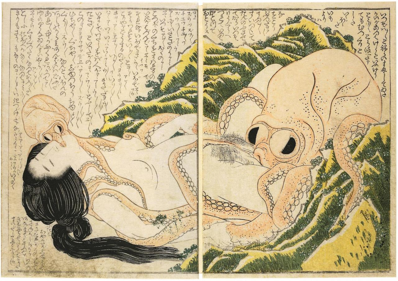 Katsushika Hokusai, Tako to Ama (The Dream of the Fisherman's Wife), 1814 Woodblock print, 19 x 27 cm
