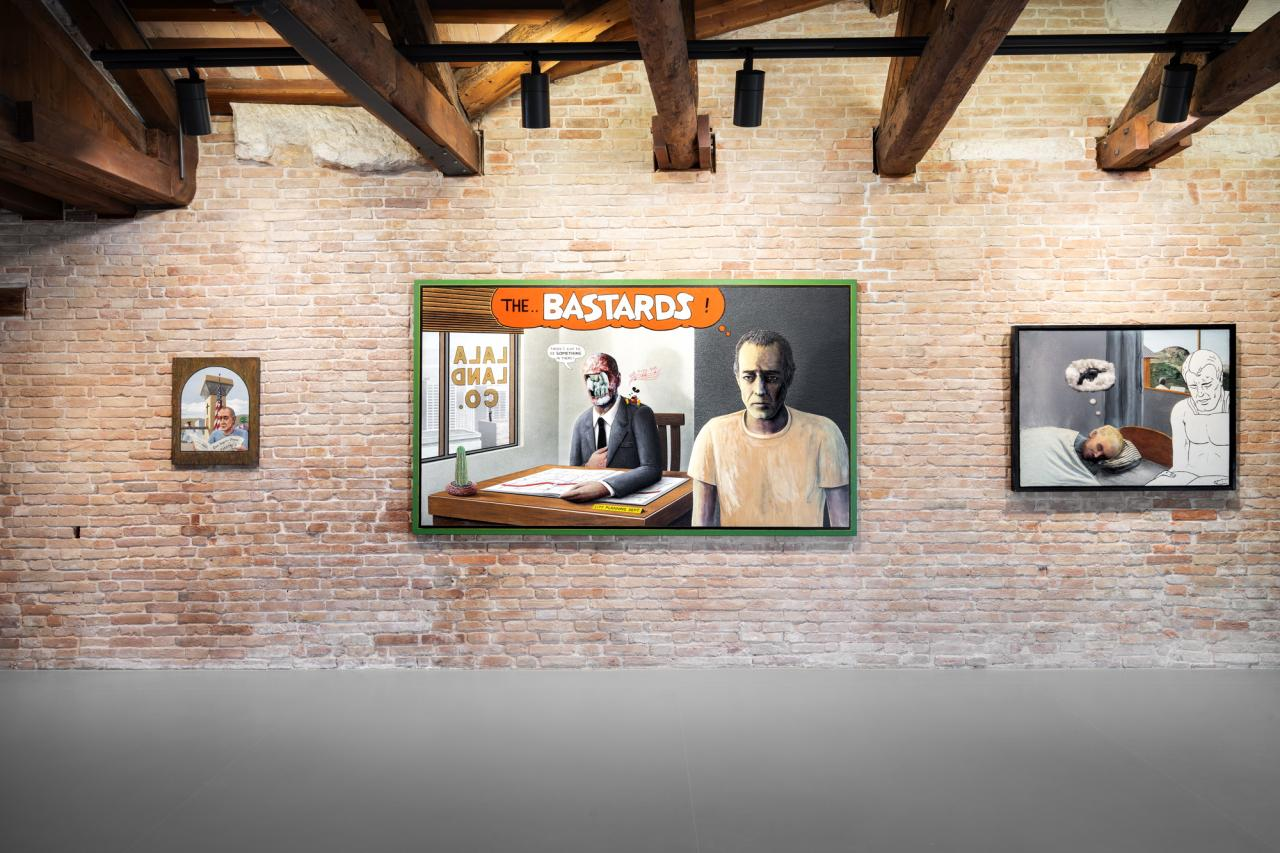 Llyn Foulkes, Untitled (Invest in Art) , 2001 / The Rape of the Angels , 1991 / Day Dreams , 1991.© Palazzo Grassi, photography Marco Cappelletti.