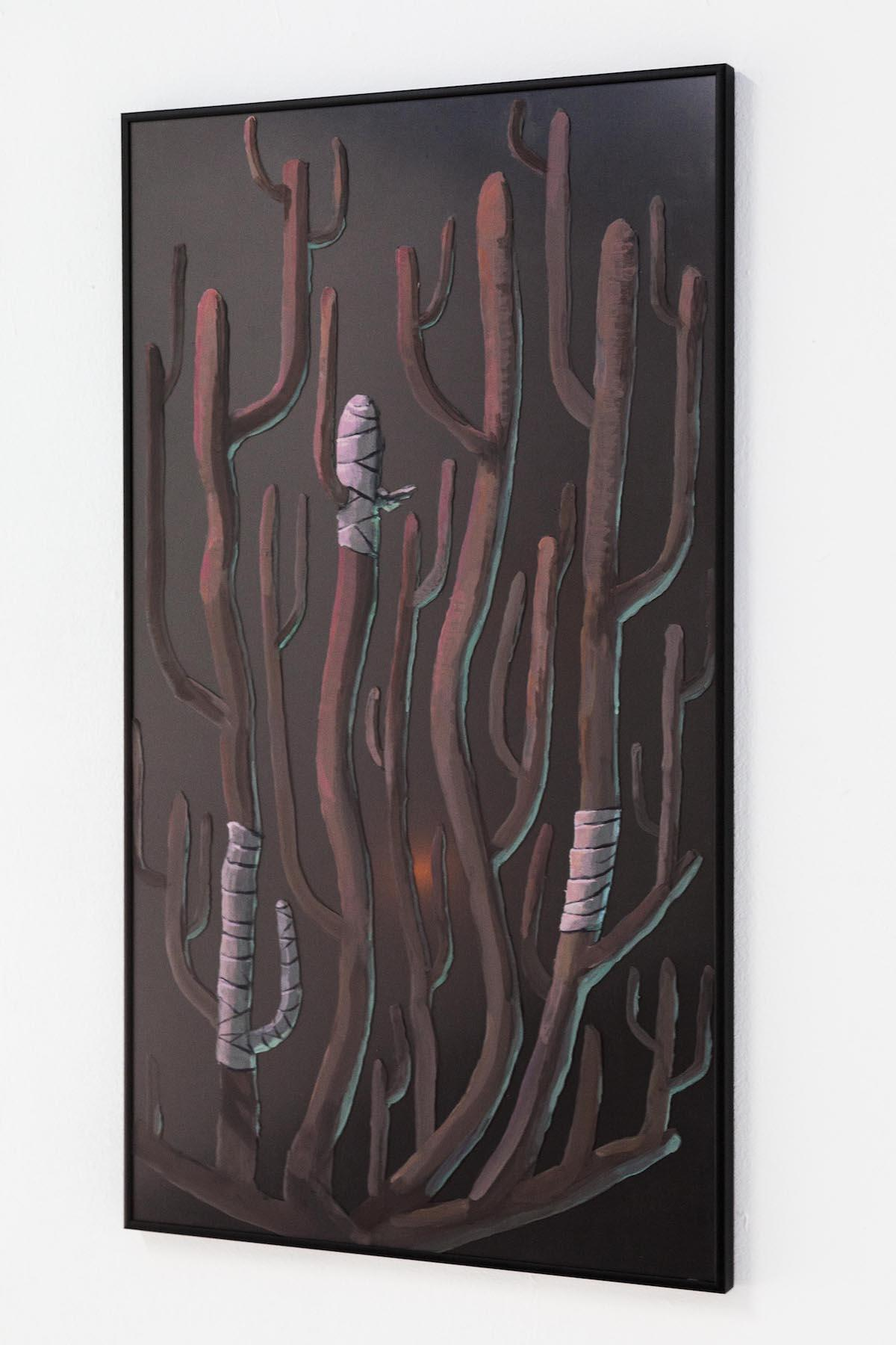 Lukas Posch, Die Nerven (getwellsoon), 2017,Acrylicon glass, aluminium, wood, 82 x 46 cm