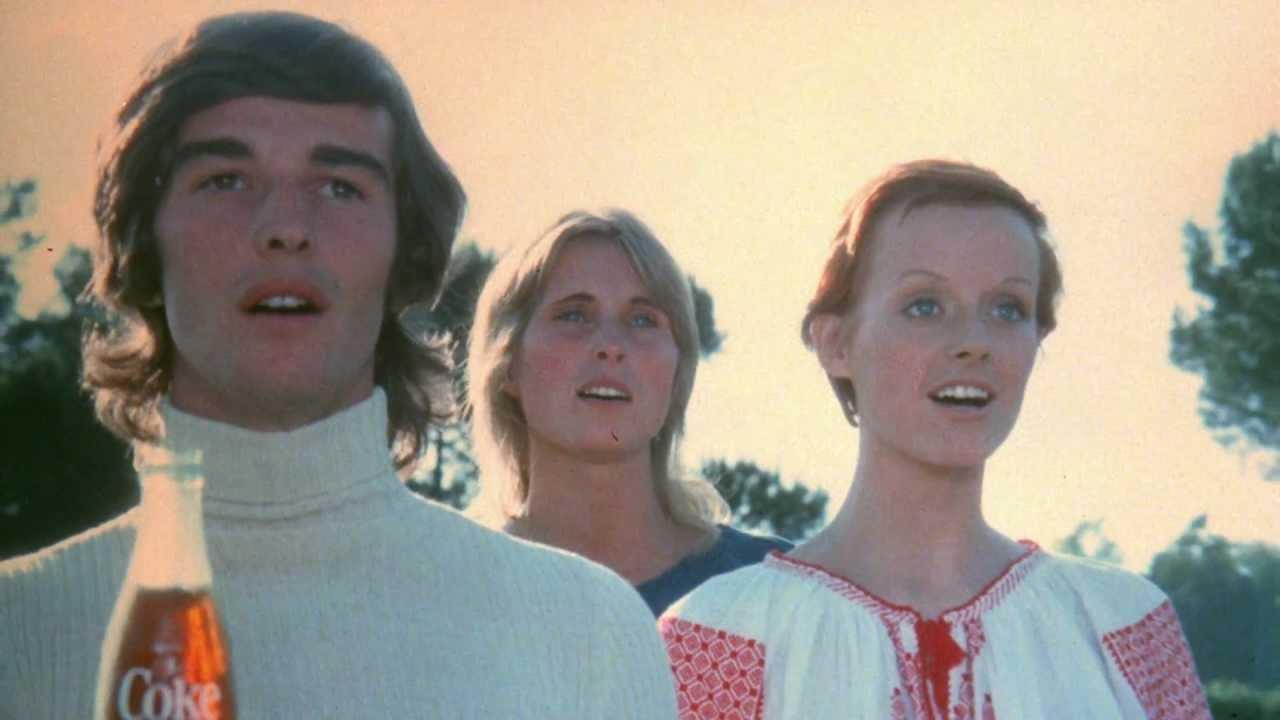 """Video still from Coca-Cola's 1971 commercial """"I want to teach the world to sing"""""""