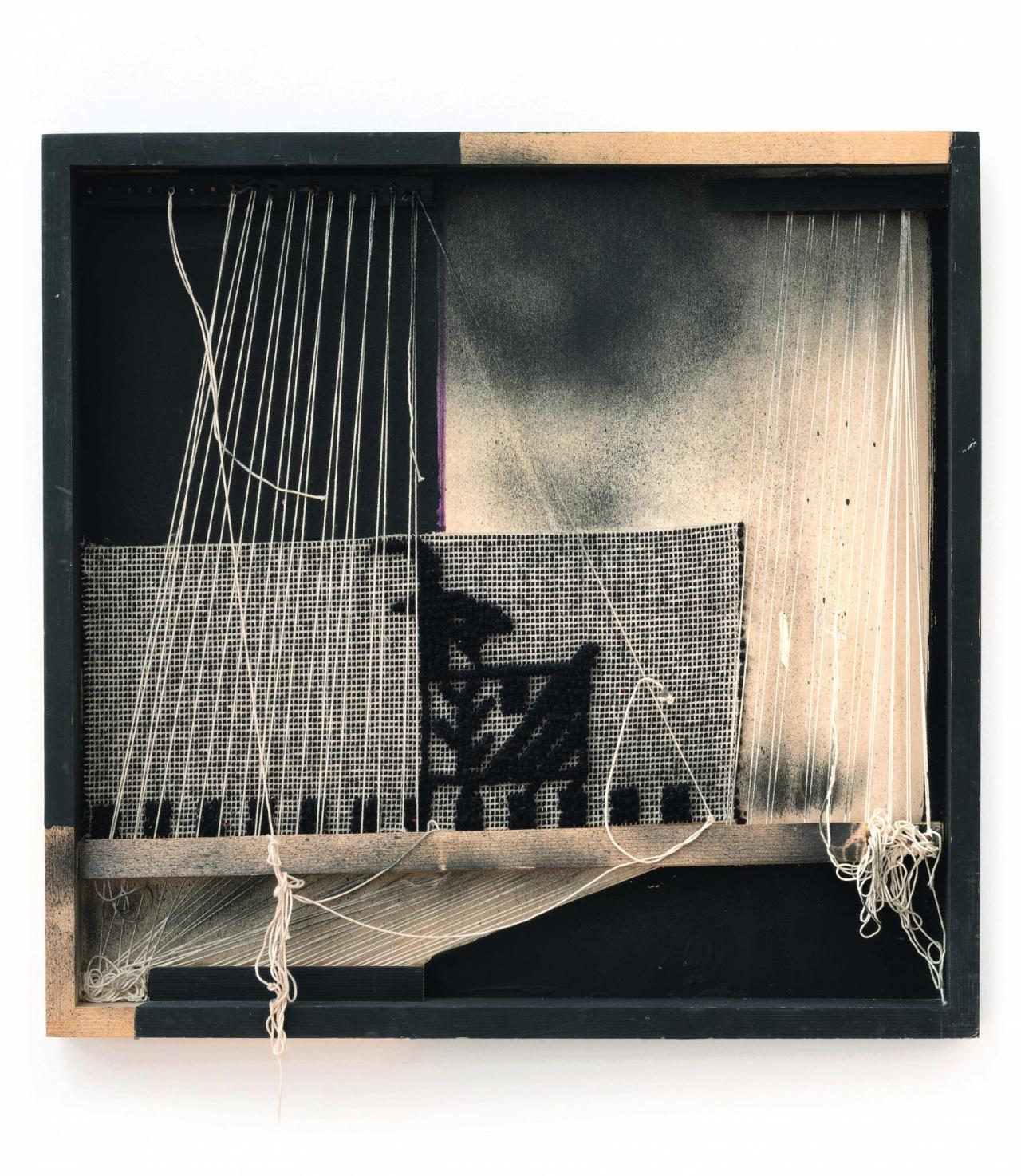 Maria Lai,  Senza titolo , 2009 Wood, thread, paint, cloth, wool, nails, 52 x 54 x 5.5 cm
