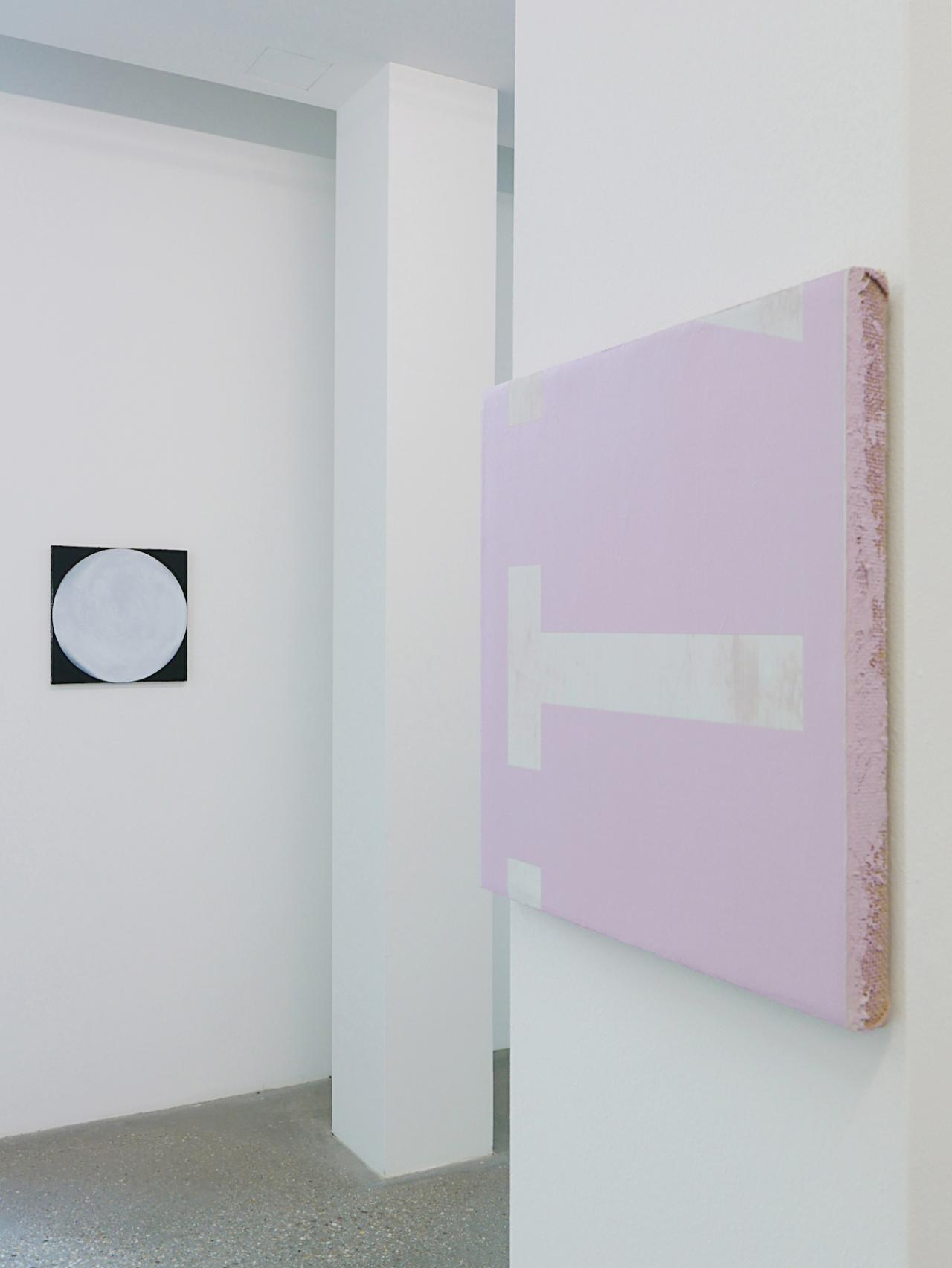 """Nicolas Jasmin and Other Works"" Exhibition view at Belvedere 21 Left: O.T. (FULL #5) , 2018 Right: O.T. #38 (VTTZ) GEHEIMSPRACHE ROSA , 2018 Courtesy the artist and Croy Nielsen, Vienna"
