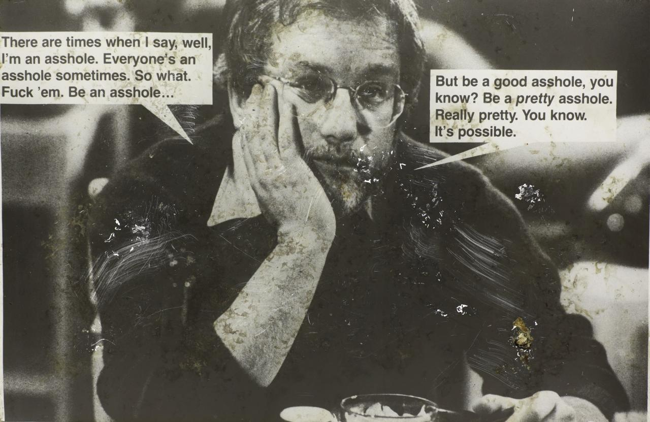Jokes (Dreyfus) , 1988  Distressed photograph on aluminum  97 x 149 cm  Courtesy of Ratio 3, San Francisco