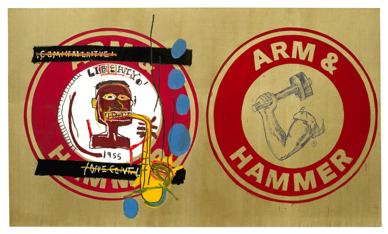 Jean-Michel Basquiat and Andy Warhol Arm and Hammer II  (1984) Guarded by Bischofberger, Männedorf-Zurich, Switzerland, © VG Bildrecht Wien (2018) & The Estate of Jean-Michel Basquiat, Licensed by Artestar, New York, Courtesy Galerie Bruno Bischofberger, Männedorf-Zurich, Switzerland