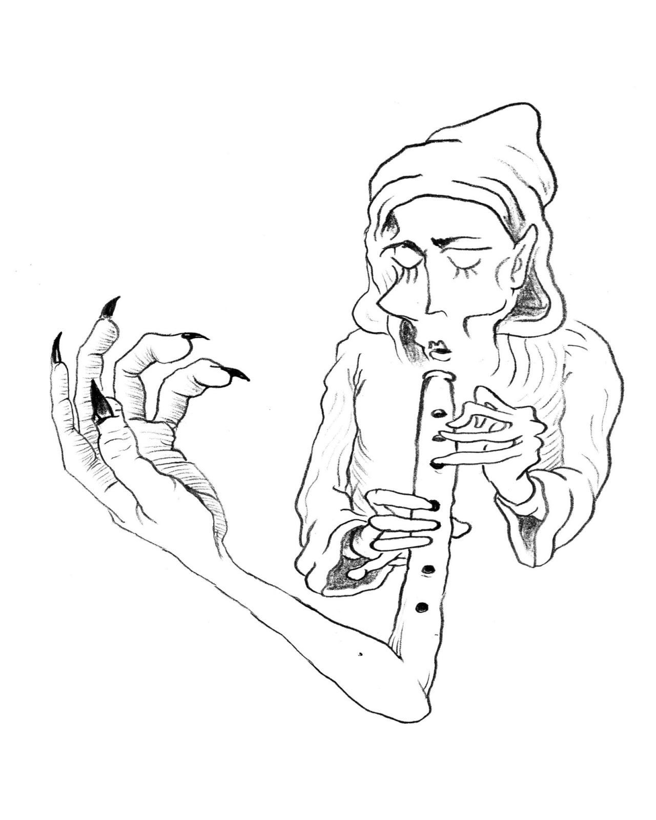Seth Price, Arm Flute ,Graphite on paper, 18.5 x 25 cm