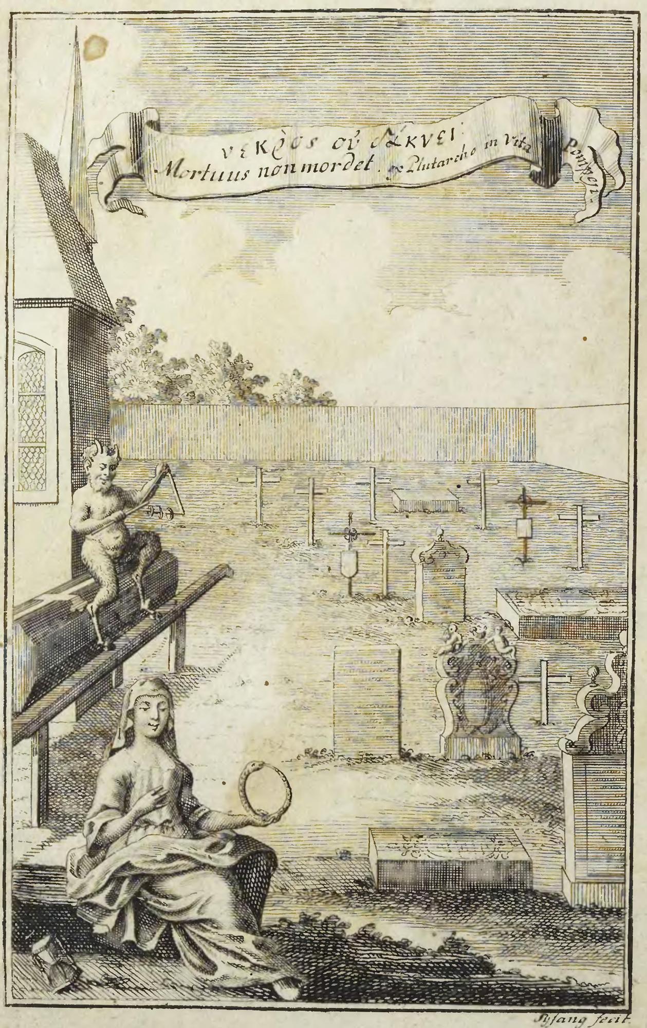 Folio of woman holding ouroboros from Michael Ranft's Tractat von dem Kauen und Schmatzen der Todten in Gräbern , 1734.