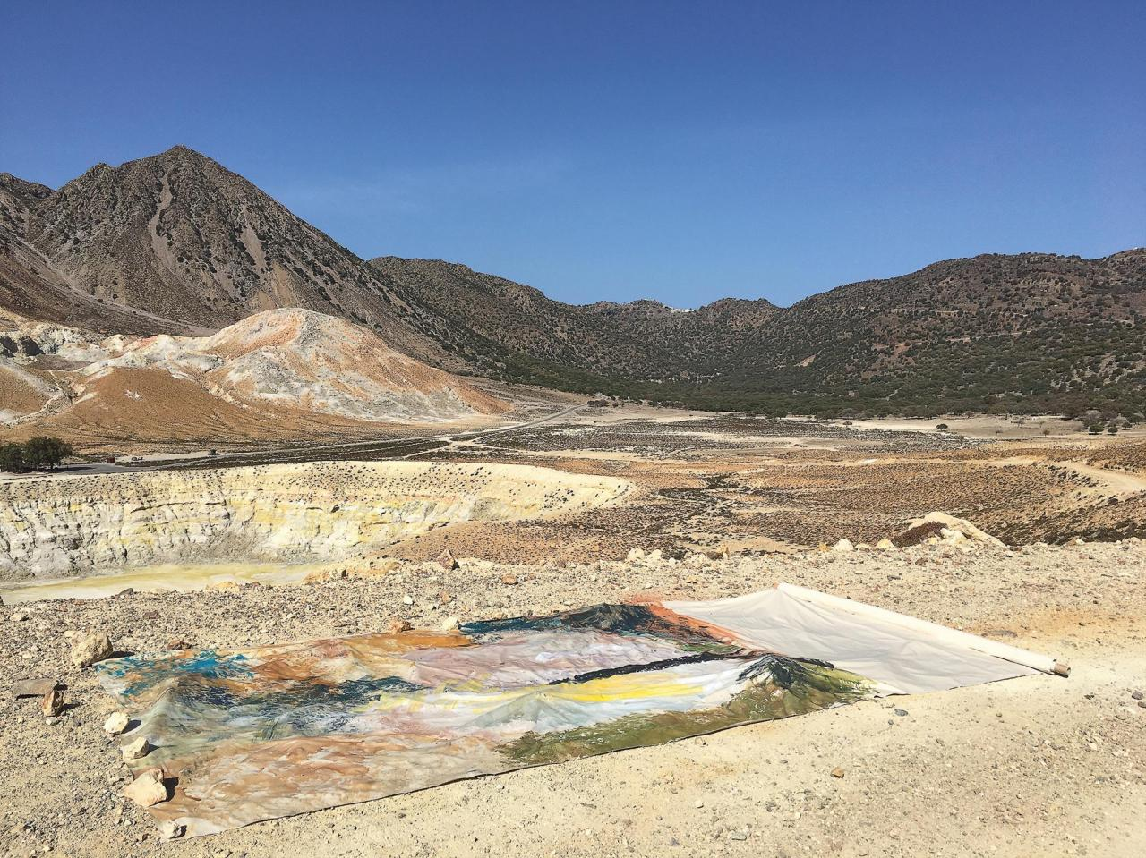 Vivian Suter, Above the crater Stephano end of October , in situ during her residency at Sterna Art Project, Nisyros, Greece, 2016