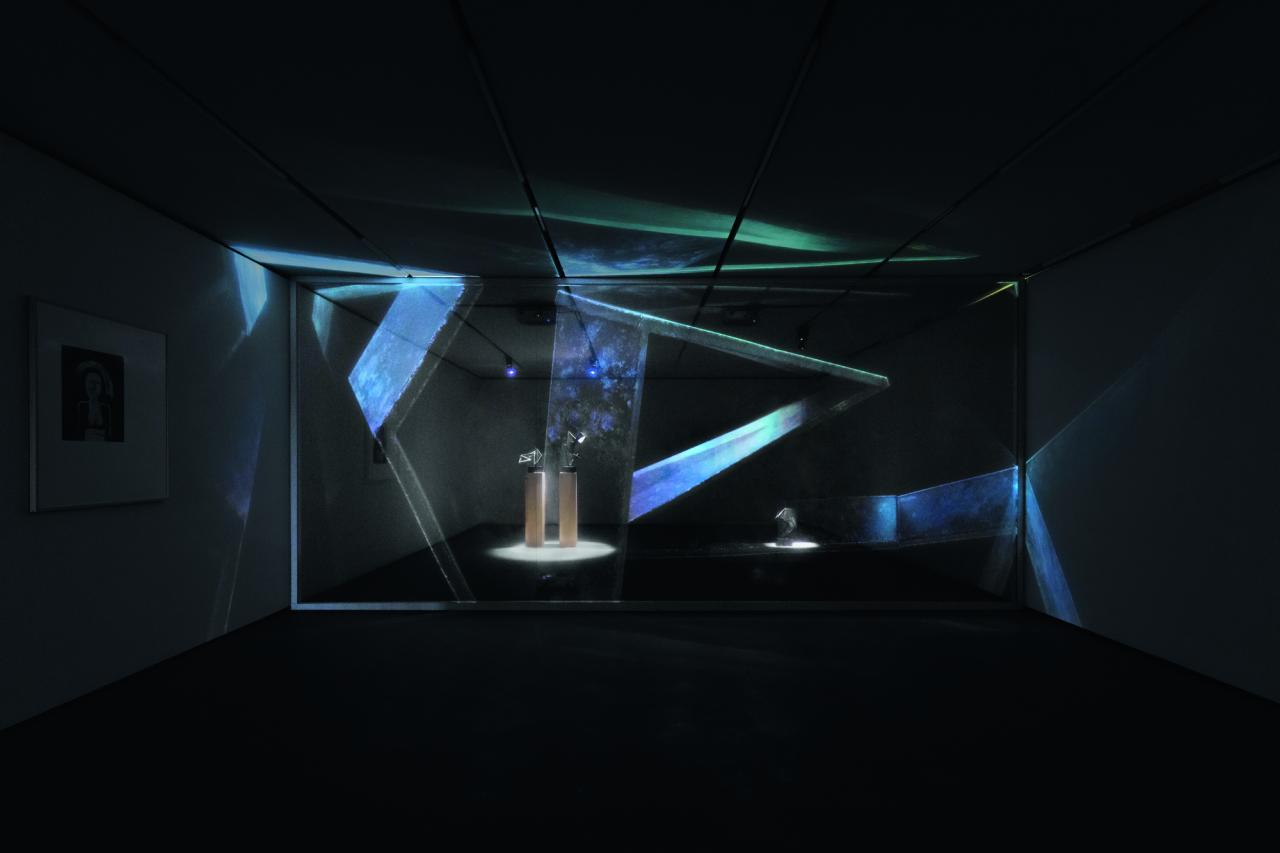 Christopher Kulendran Thomas in collaboration with Annika Kuhlmann, Being Human , 2019 Digital projection on acrylic