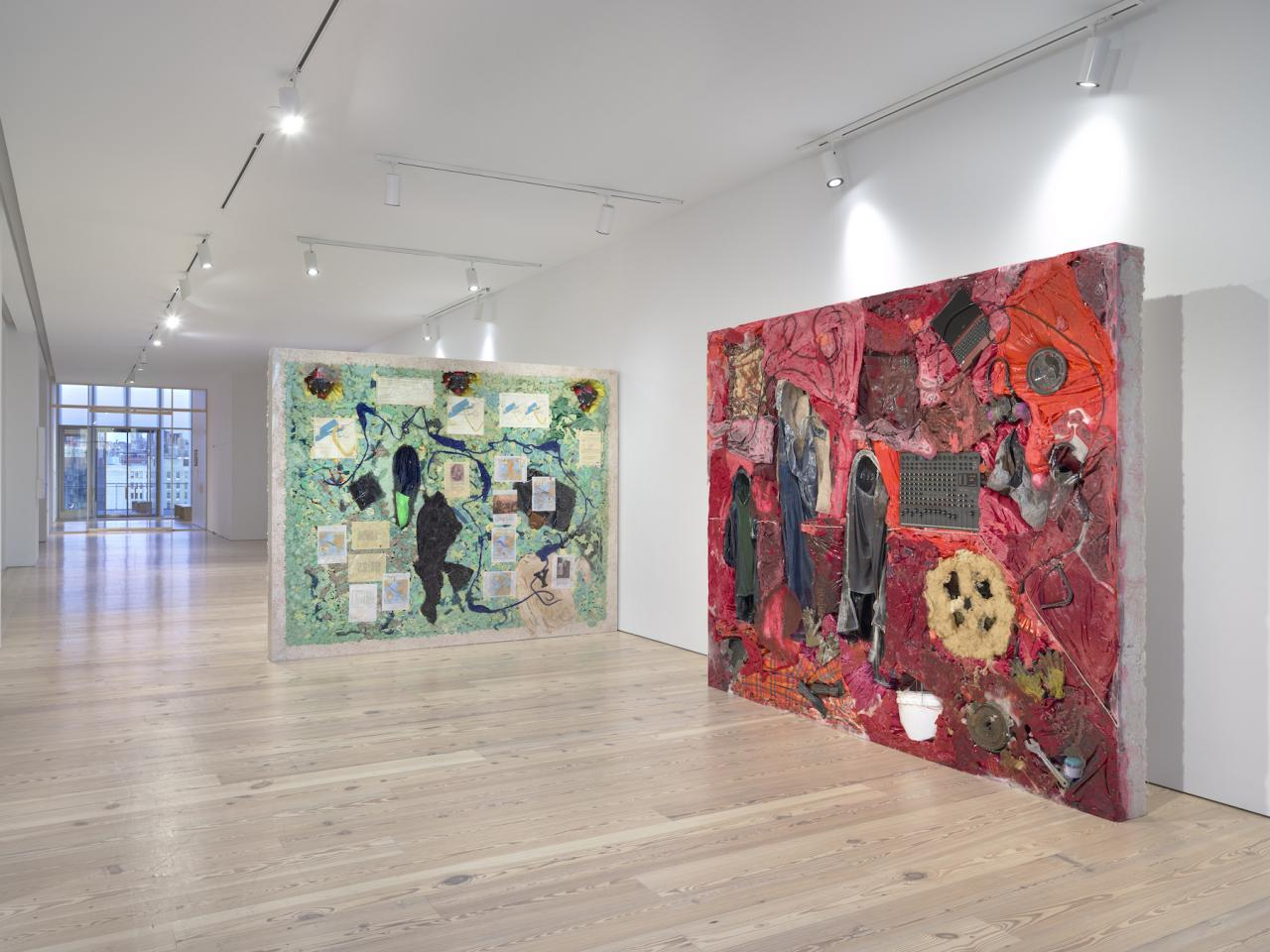 Installation view of Kevin Beasley: A View of a Landscape at the Whitney From left to right: Campus , 2018; The Acquisition , 2018;Photo: Ron Amstutz