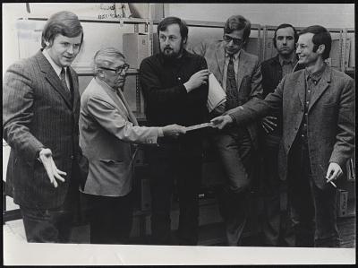 The documenta team: Peter Iden, Arnold Bode,Harald Szeemann, Bazon Brock, Jean-Christophe Ammann, Ingolf Bauer Photo: © documenta Archiv