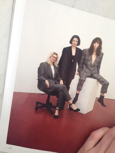 In theh middle: Rózsa Zita Farkas with Zhoe Granger (Manager) and Lily Cheetah Nicol (assistant). British Vogue, August, p.144