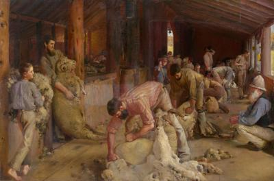 Tom Roberts, Shearing the rams, 1890 Oil on canvas on composition board, 122.4 x 183.3 cm National Gallery of Victoria, Melbourne, Australia Felton Bequest, 1932