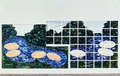 Jennifer Bartlett, At the Lake , 1978 Einbrennlack und Siebdruck, Lack auf Stahlplatten; Öl und Leinwand (45 Platten und 2 Leinwände) Courtesy die Künstlerin und Richard Gray Gallery