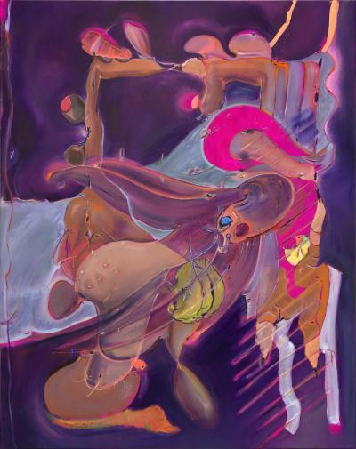 Stefanie Heinze Vim ,2019 Oil and acrylic on linen, 195 x 155 cm / 76.7 x 61 inches © theartist, Courtesy Capitain Petzel, Berlin;Photo: Lepkowski Studios